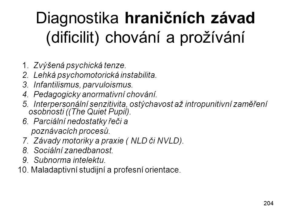 Diagnostika hraničních závad (dificilit) chování a prožívání