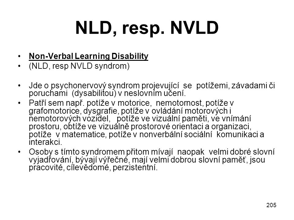NLD, resp. NVLD Non-Verbal Learning Disability