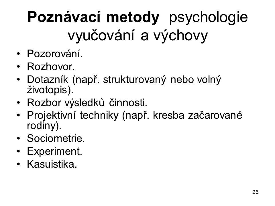 Poznávací metody psychologie vyučování a výchovy