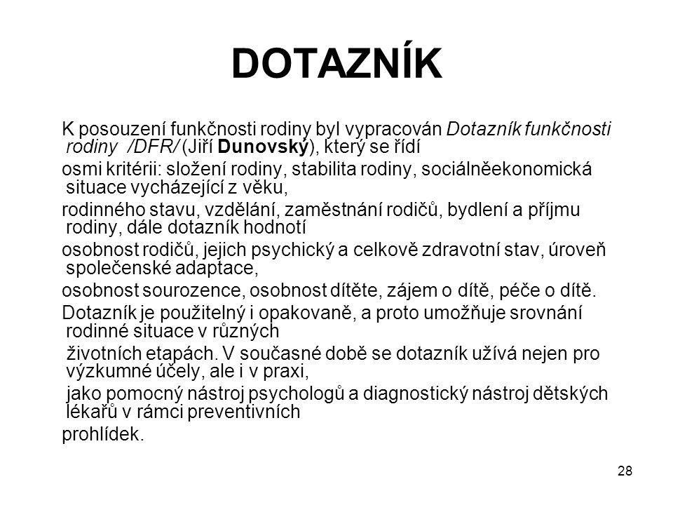 DOTAZNÍK K posouzení funkčnosti rodiny byl vypracován Dotazník funkčnosti rodiny /DFR/ (Jiří Dunovský), který se řídí.
