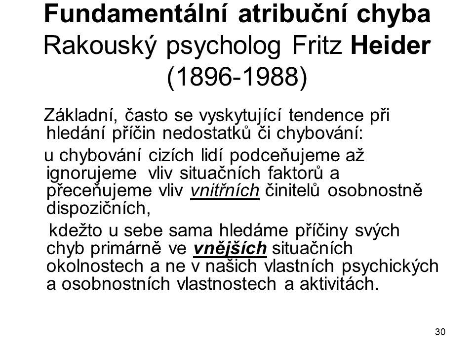 Fundamentální atribuční chyba Rakouský psycholog Fritz Heider (1896-1988)