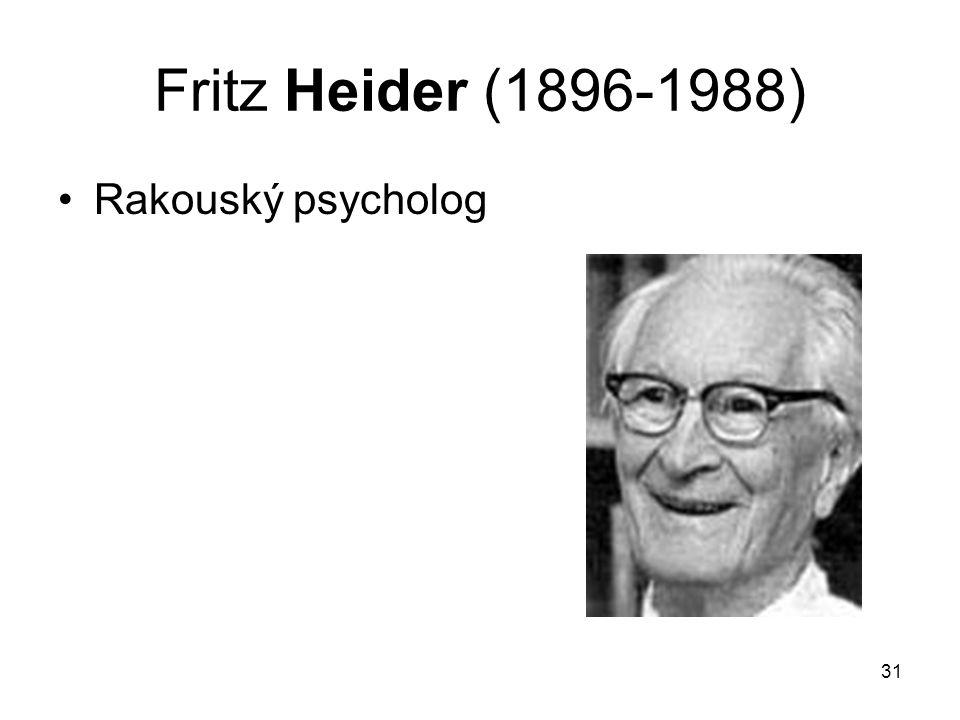 Fritz Heider (1896-1988) Rakouský psycholog