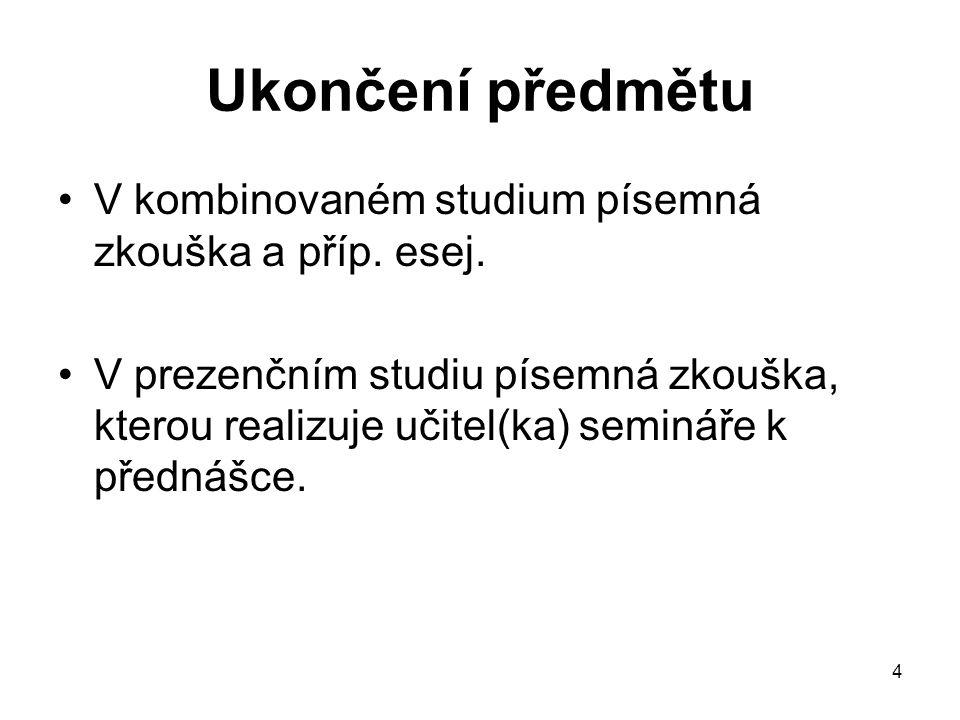Ukončení předmětu V kombinovaném studium písemná zkouška a příp. esej.