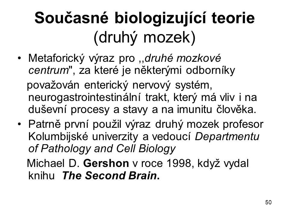 Současné biologizující teorie (druhý mozek)