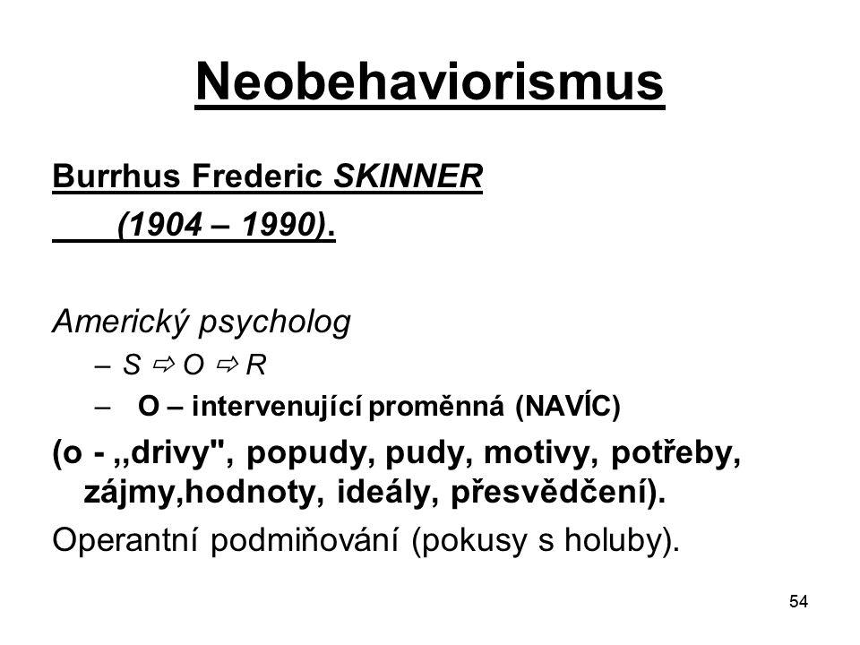 Neobehaviorismus Burrhus Frederic SKINNER (1904 – 1990).