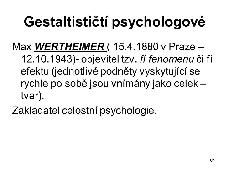 Gestaltističtí psychologové
