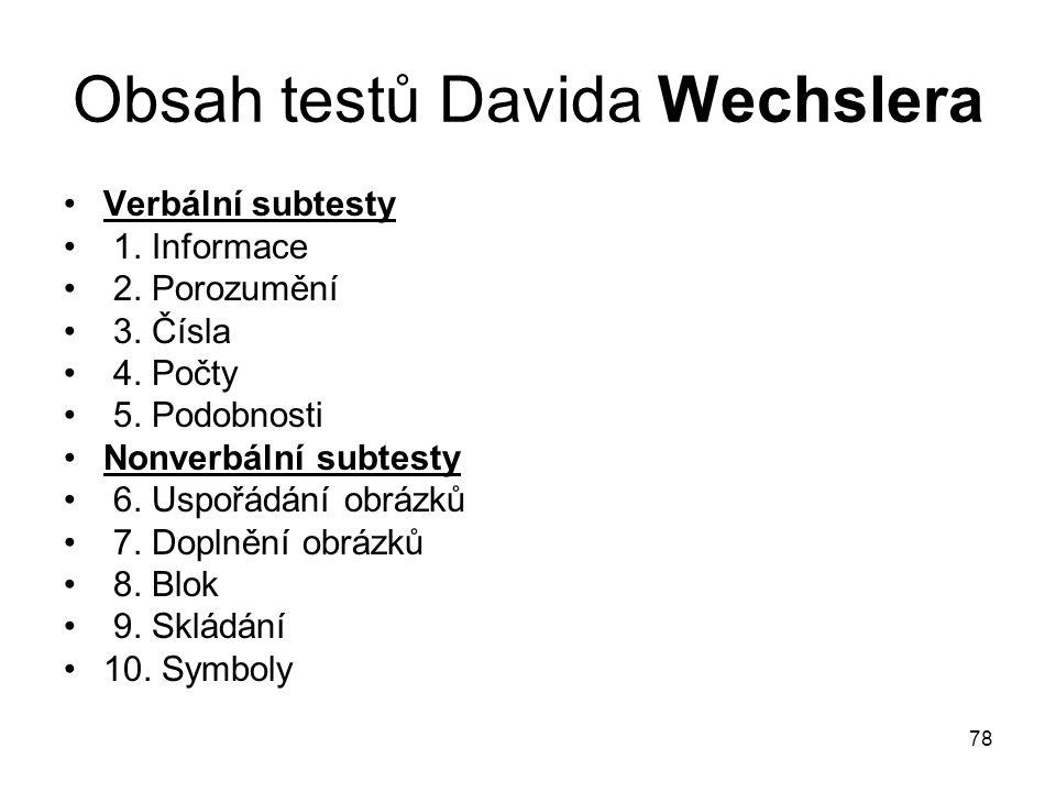 Obsah testů Davida Wechslera