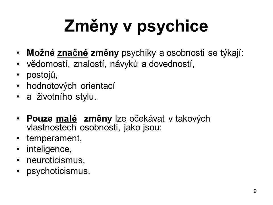 Změny v psychice Možné značné změny psychiky a osobnosti se týkají: