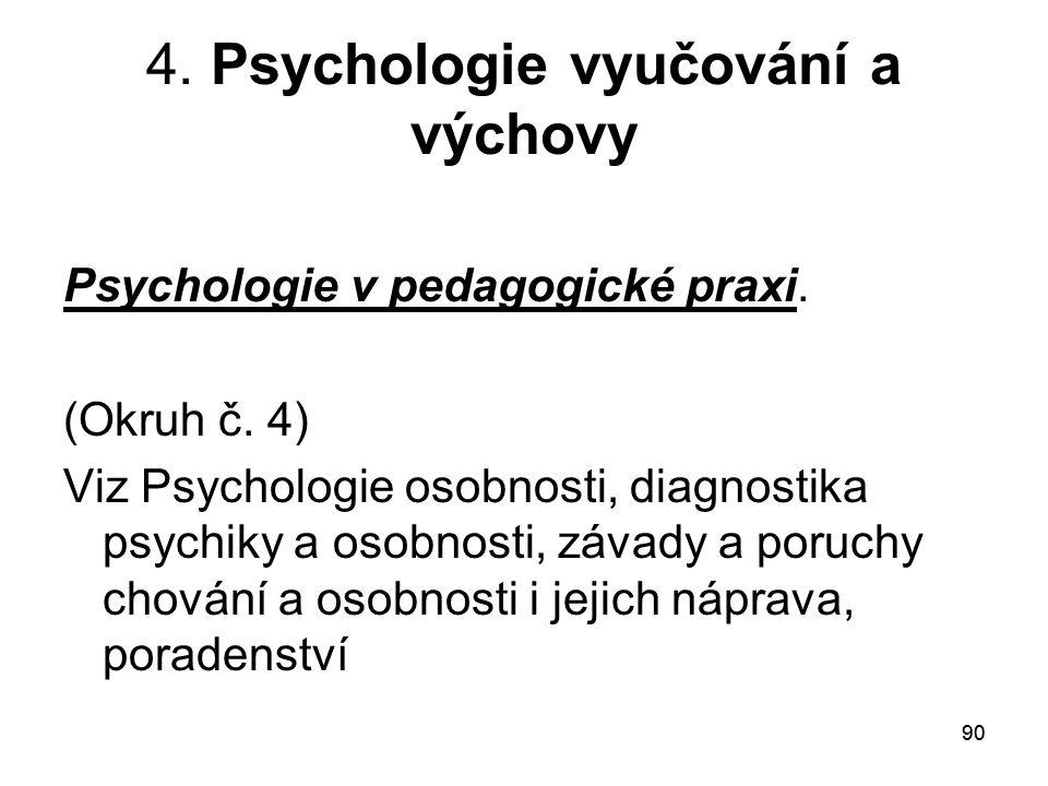 4. Psychologie vyučování a výchovy