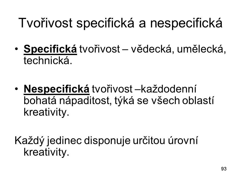 Tvořivost specifická a nespecifická