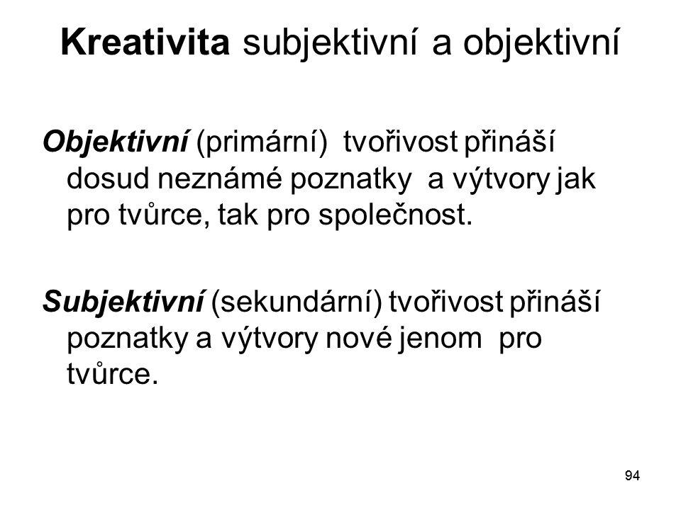 Kreativita subjektivní a objektivní