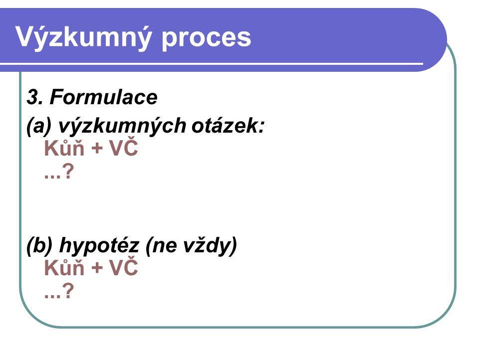 Výzkumný proces 3. Formulace (a) výzkumných otázek: Kůň + VČ ...