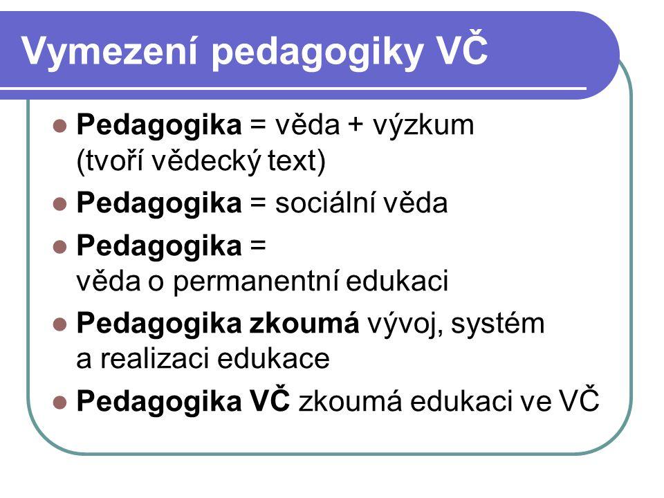 Vymezení pedagogiky VČ