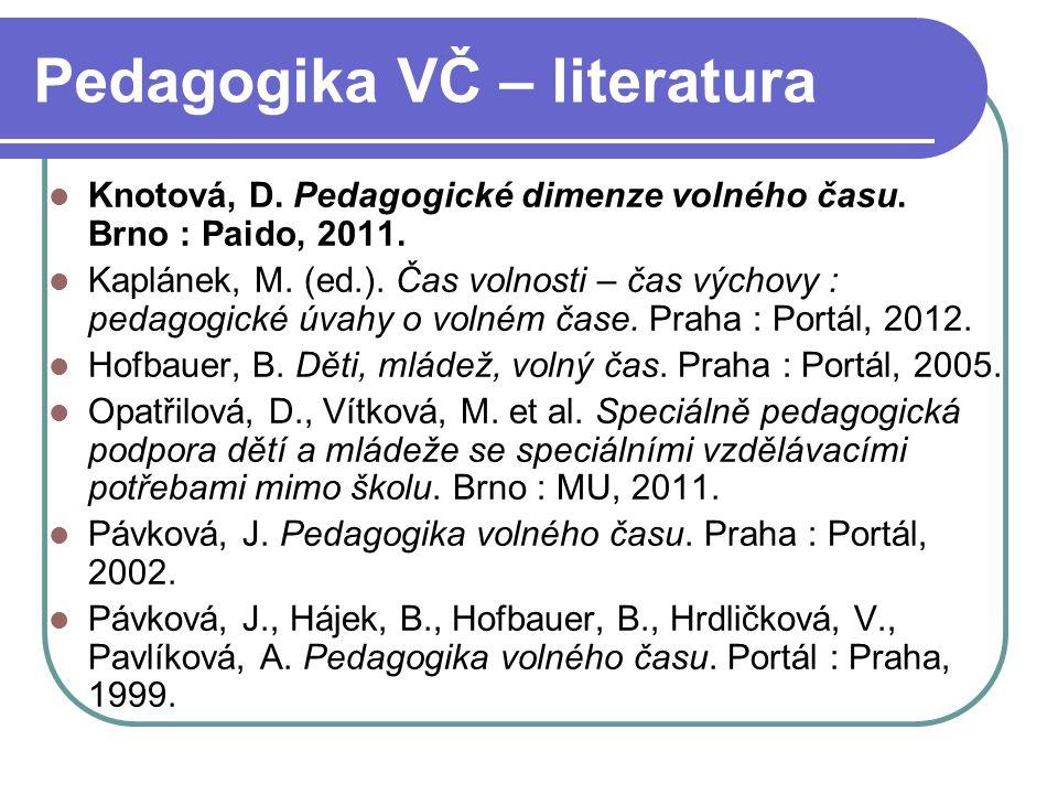 Pedagogika VČ – literatura