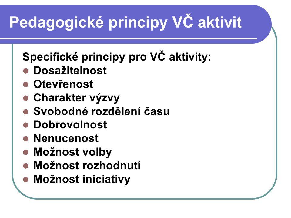Pedagogické principy VČ aktivit