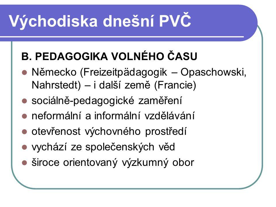 Východiska dnešní PVČ B. PEDAGOGIKA VOLNÉHO ČASU