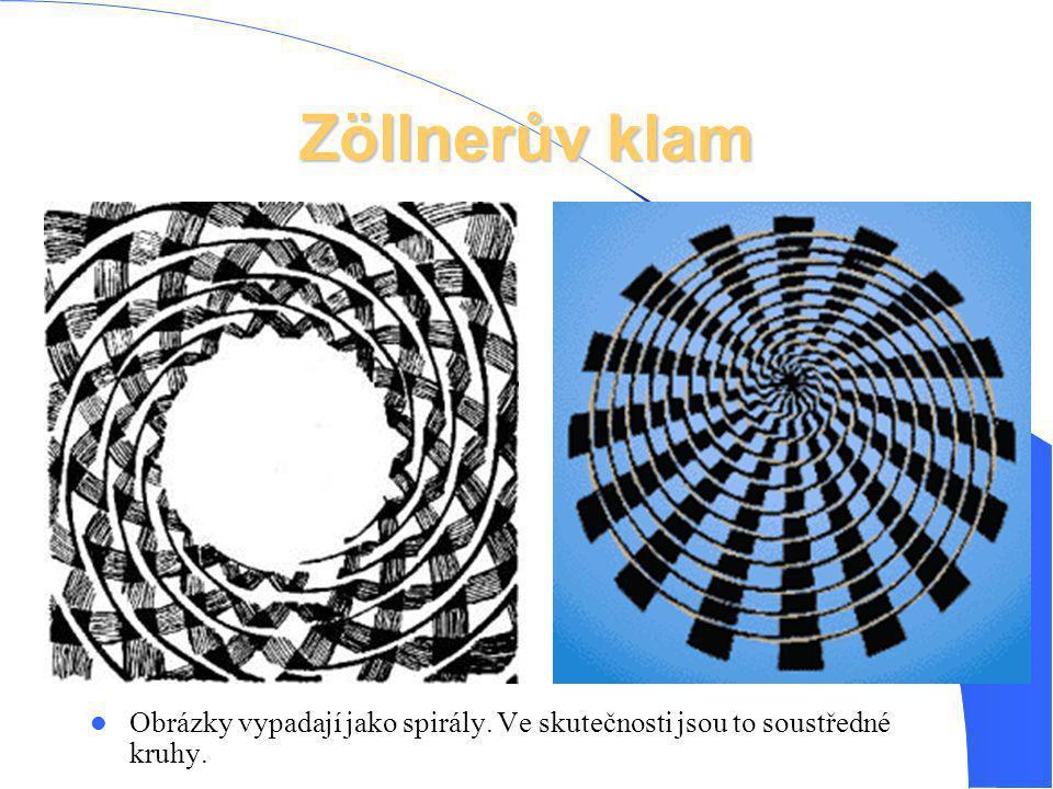 Zöllnerův klam Obrázky vypadají jako spirály. Ve skutečnosti jsou to soustředné kruhy.