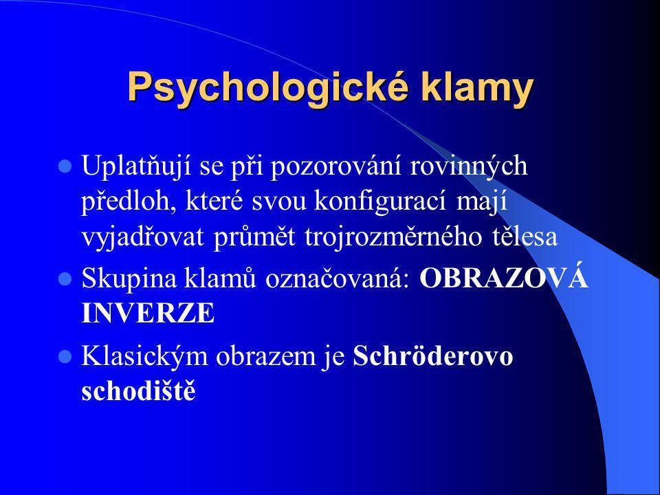 Psychologické klamy Uplatňují se při pozorování rovinných předloh, které svou konfigurací mají vyjadřovat průmět trojrozměrného tělesa.