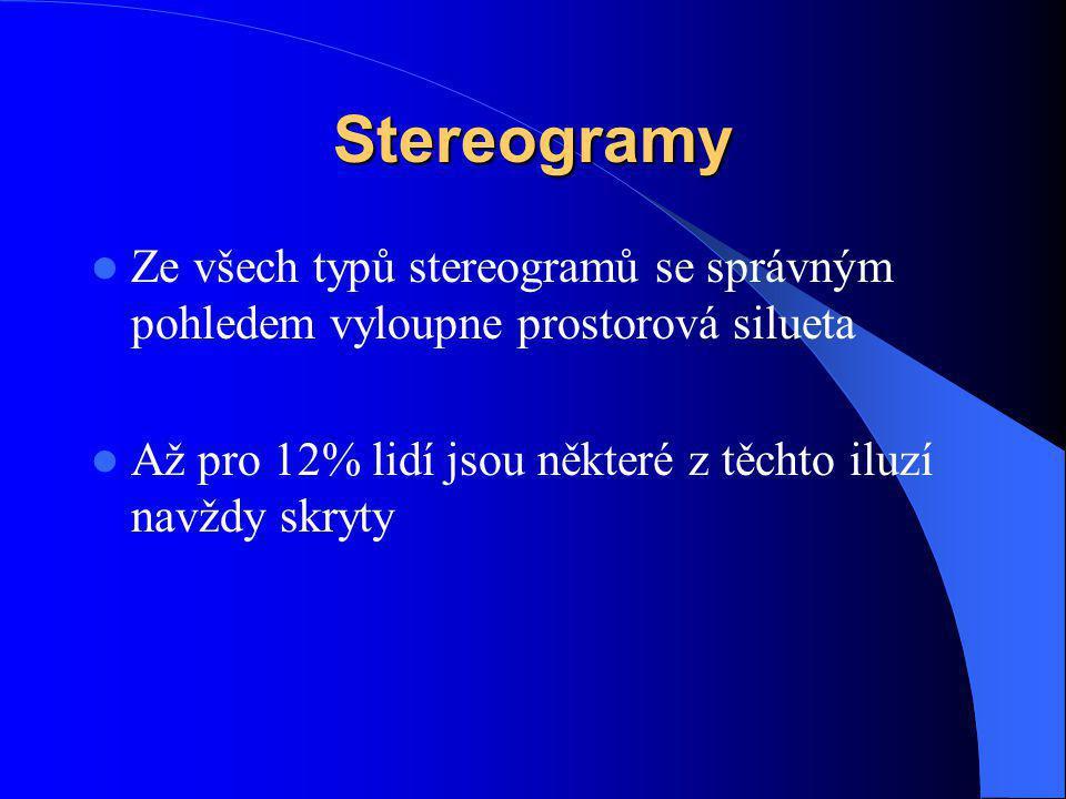 Stereogramy Ze všech typů stereogramů se správným pohledem vyloupne prostorová silueta.
