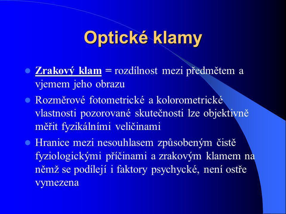 Optické klamy Zrakový klam = rozdílnost mezi předmětem a vjemem jeho obrazu.