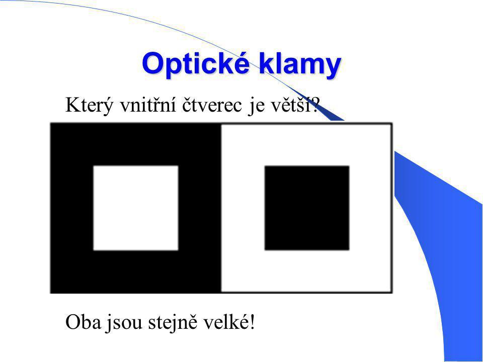 Optické klamy Který vnitřní čtverec je větší Oba jsou stejně velké!