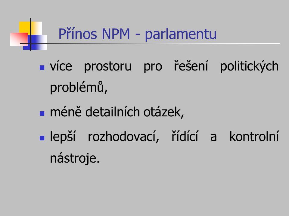 Přínos NPM - parlamentu