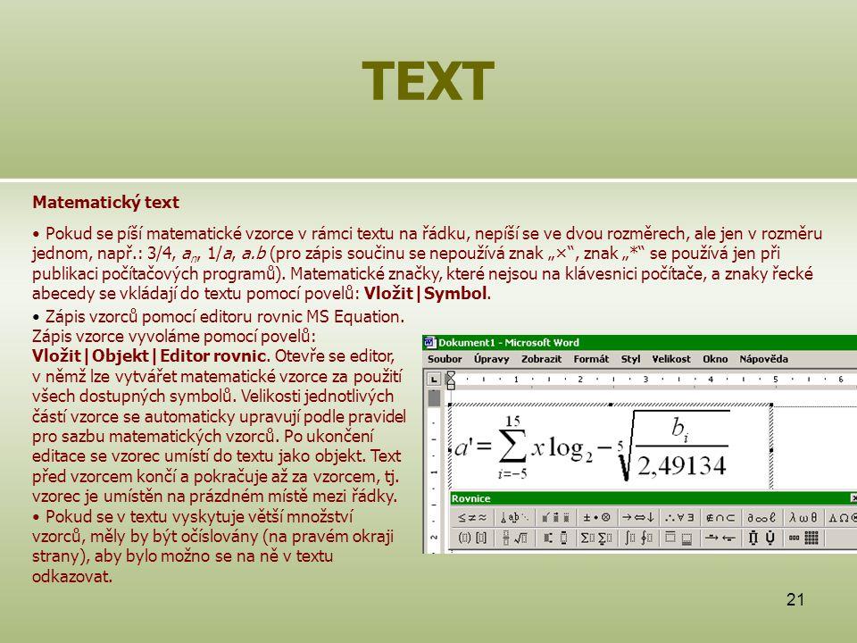 TEXT Matematický text.