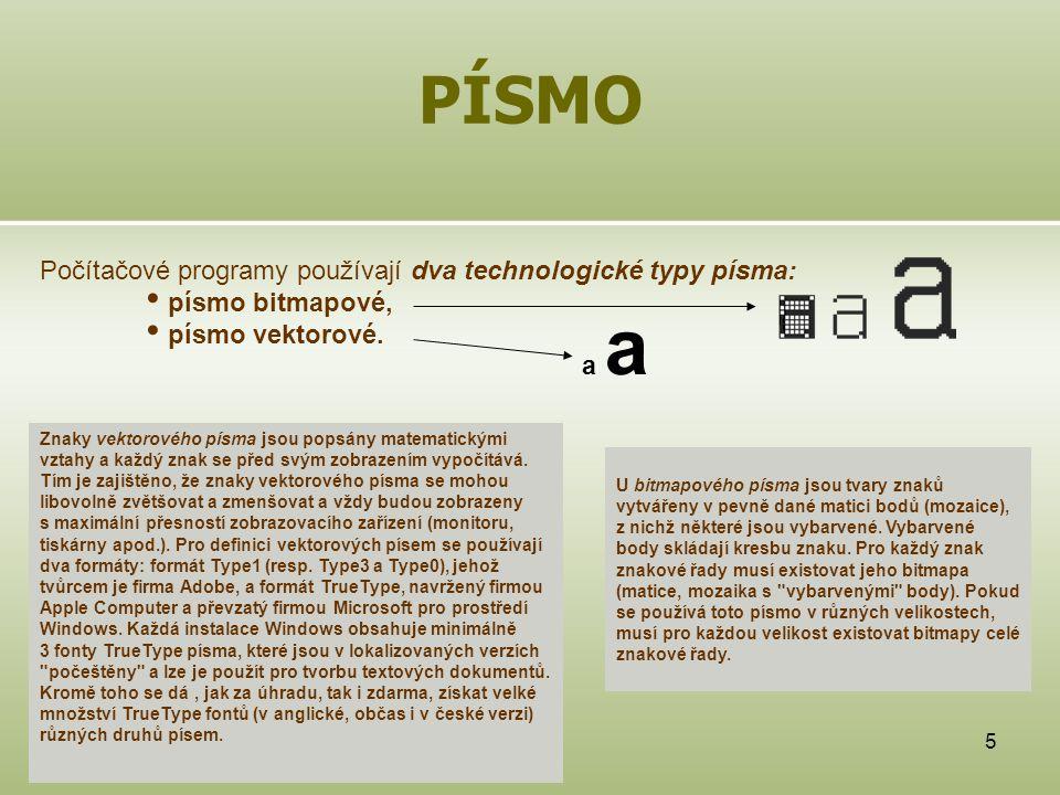 PÍSMO Počítačové programy používají dva technologické typy písma: