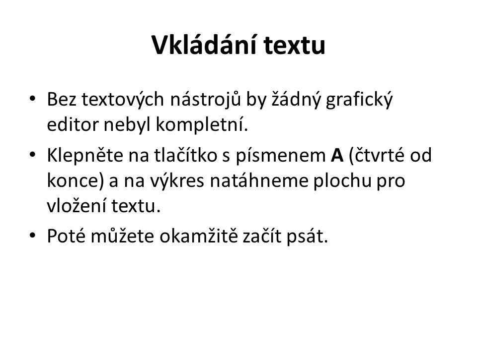 Vkládání textu Bez textových nástrojů by žádný grafický editor nebyl kompletní.