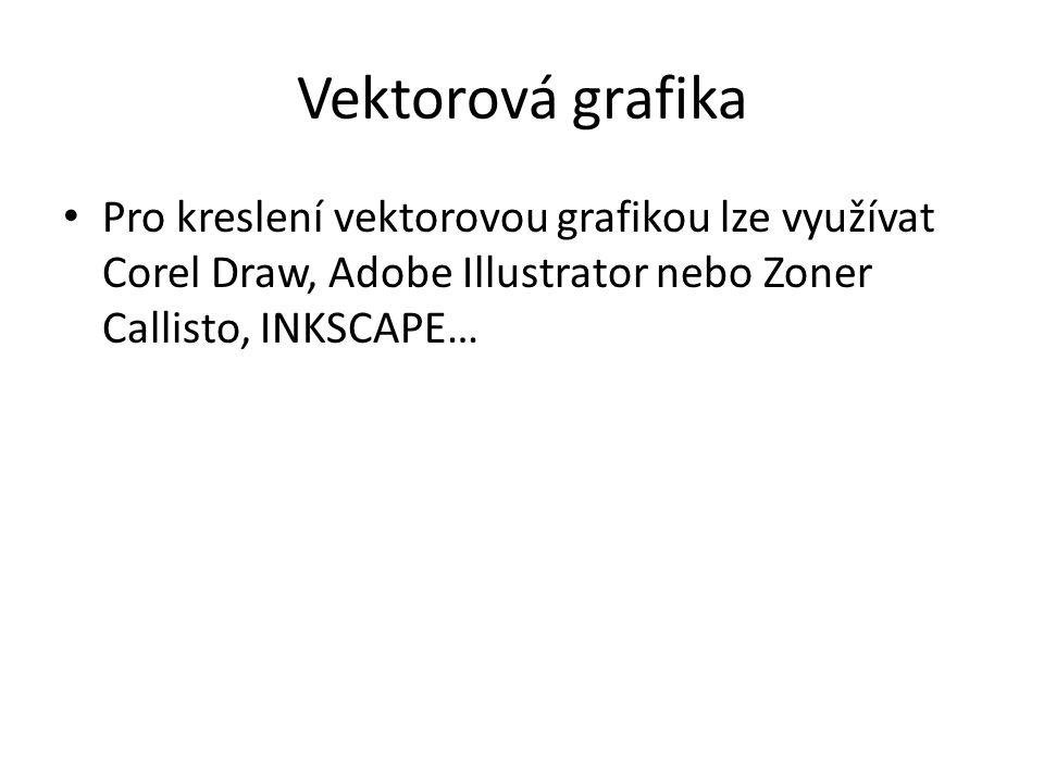 Vektorová grafika Pro kreslení vektorovou grafikou lze využívat Corel Draw, Adobe Illustrator nebo Zoner Callisto, INKSCAPE…