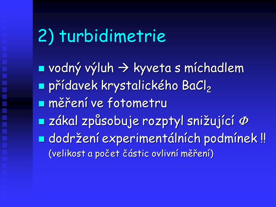 2) turbidimetrie vodný výluh  kyveta s míchadlem