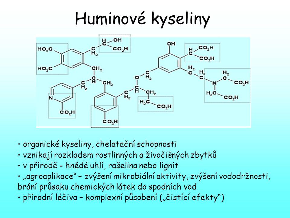 Huminové kyseliny organické kyseliny, chelatační schopnosti