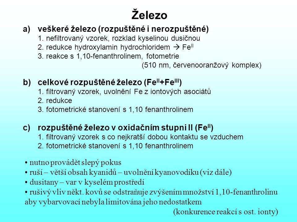 Železo veškeré železo (rozpuštěné i nerozpuštěné) 1. nefiltrovaný vzorek, rozklad kyselinou dusičnou.