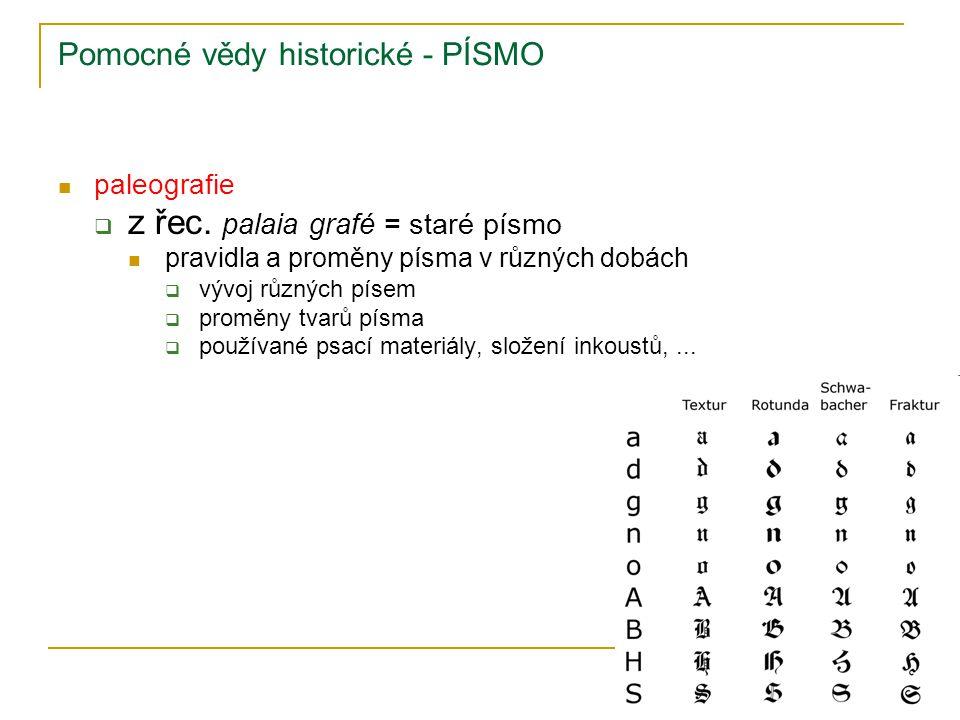 Pomocné vědy historické - PÍSMO