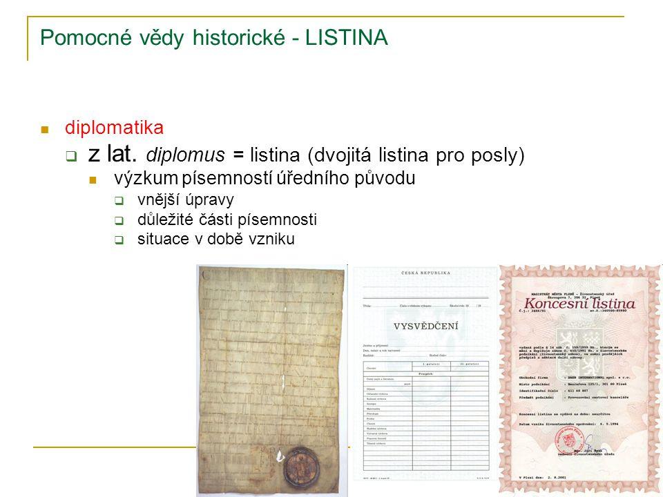 Pomocné vědy historické - LISTINA