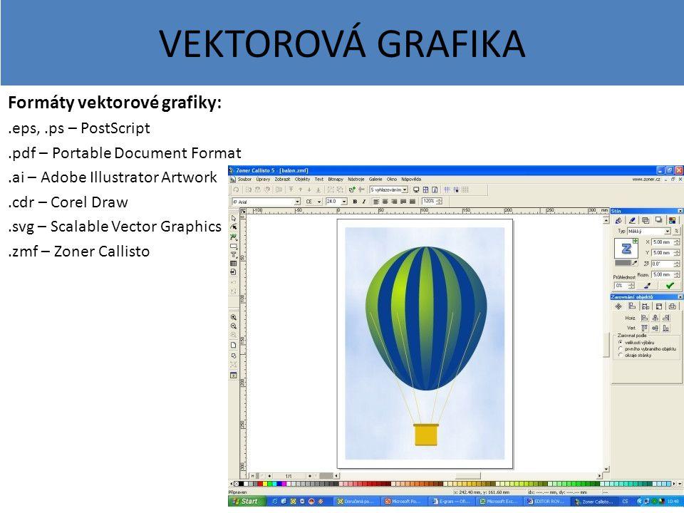VEKTOROVÁ GRAFIKA Formáty vektorové grafiky: .eps, .ps – PostScript