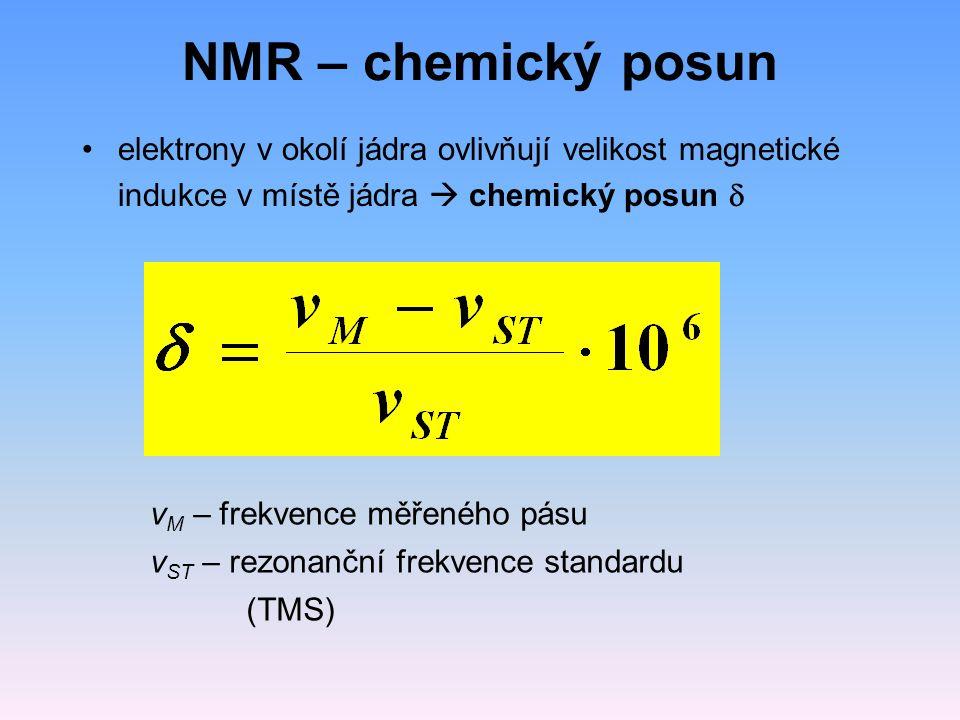 NMR – chemický posun elektrony v okolí jádra ovlivňují velikost magnetické indukce v místě jádra  chemický posun d.