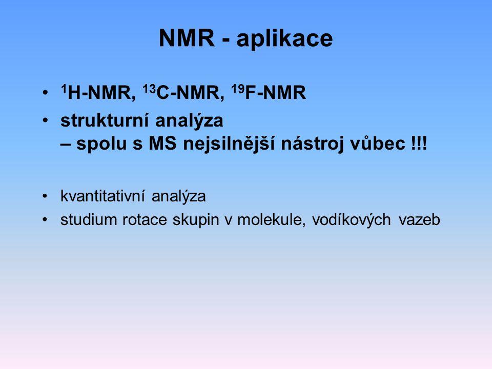 NMR - aplikace 1H-NMR, 13C-NMR, 19F-NMR
