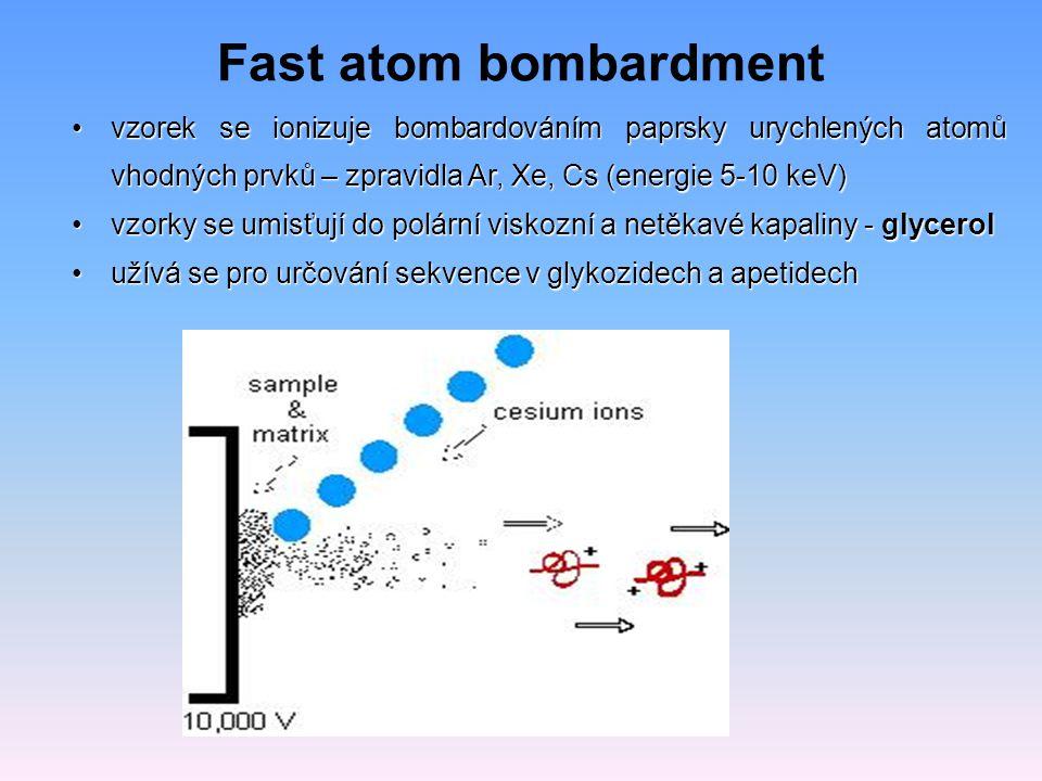 Fast atom bombardment vzorek se ionizuje bombardováním paprsky urychlených atomů vhodných prvků – zpravidla Ar, Xe, Cs (energie 5-10 keV)