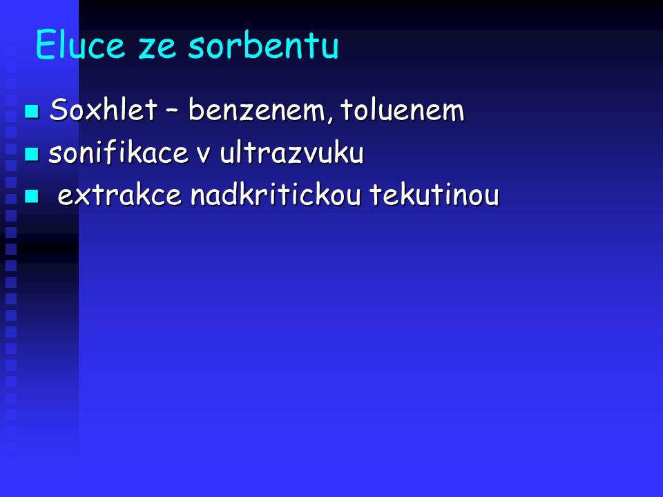 Eluce ze sorbentu Soxhlet – benzenem, toluenem sonifikace v ultrazvuku