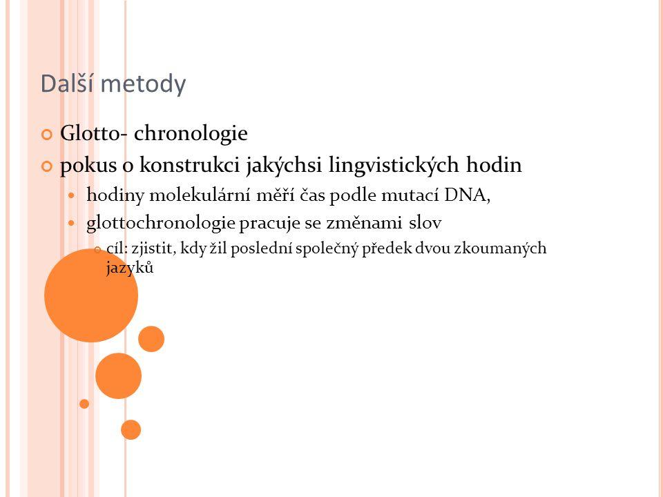 Další metody Glotto- chronologie