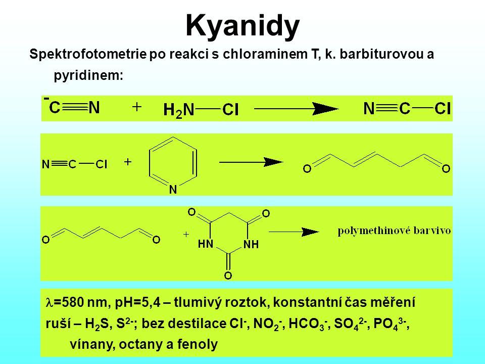 Kyanidy Spektrofotometrie po reakci s chloraminem T, k. barbiturovou a pyridinem: l=580 nm, pH=5,4 – tlumivý roztok, konstantní čas měření.