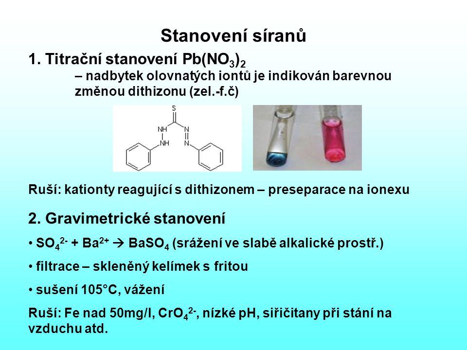 Stanovení síranů 1. Titrační stanovení Pb(NO3)2 – nadbytek olovnatých iontů je indikován barevnou změnou dithizonu (zel.-f.č)