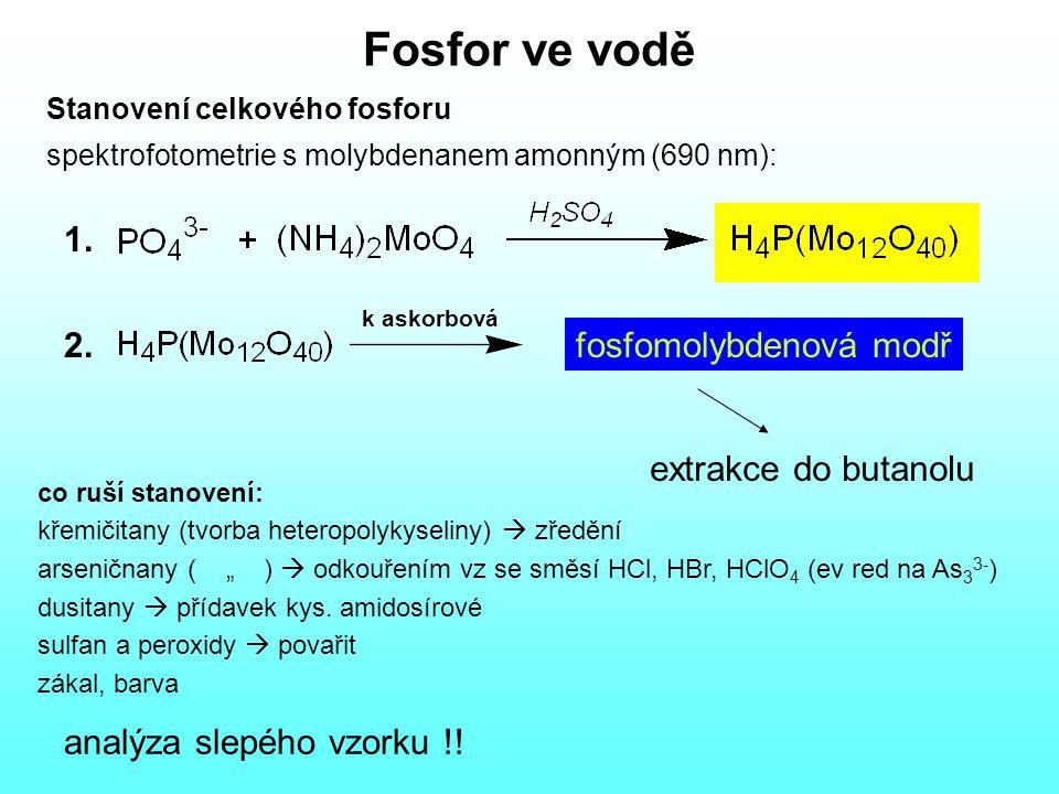 Fosfor ve vodě 1. 2. fosfomolybdenová modř extrakce do butanolu