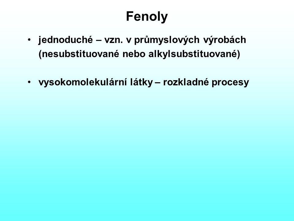 Fenoly jednoduché – vzn. v průmyslových výrobách