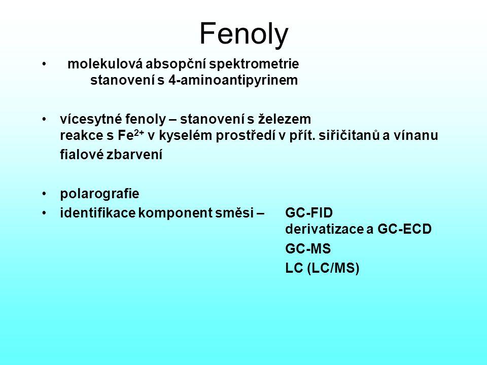 Fenoly molekulová absopční spektrometrie stanovení s 4-aminoantipyrinem.