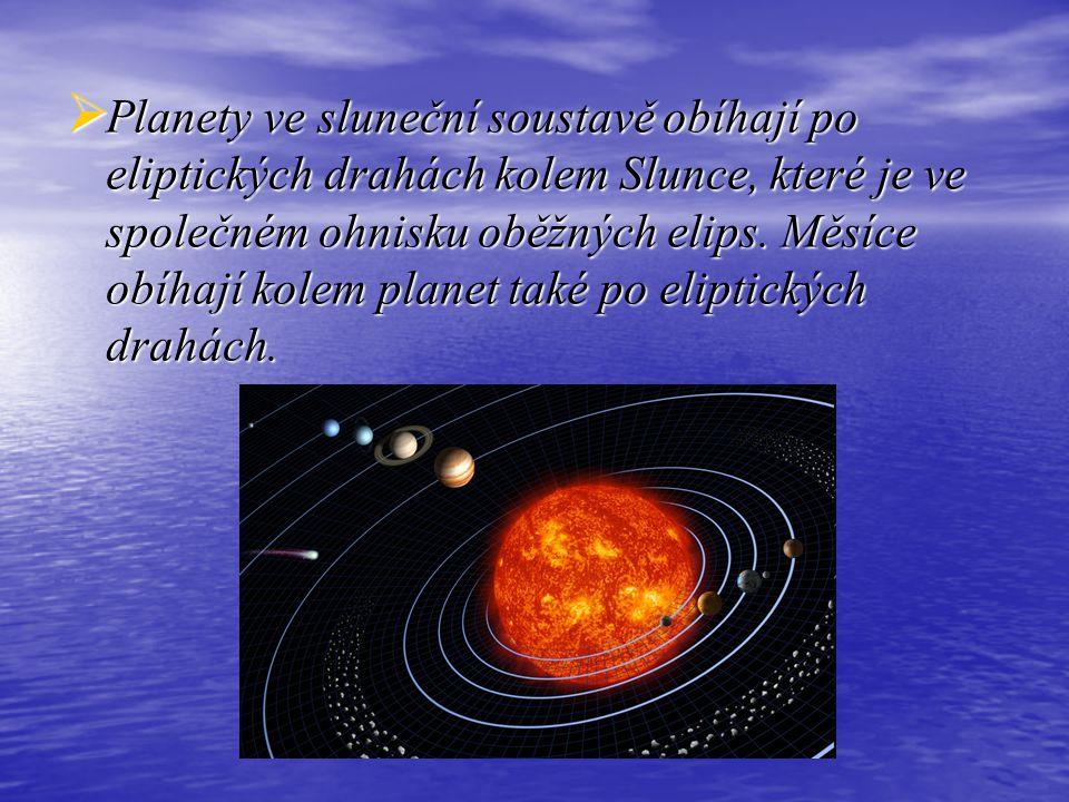 Planety ve sluneční soustavě obíhají po eliptických drahách kolem Slunce, které je ve společném ohnisku oběžných elips.