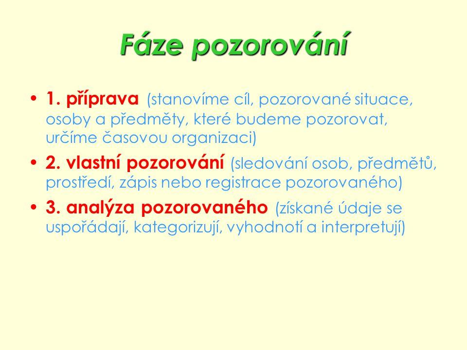 Fáze pozorování 1. příprava (stanovíme cíl, pozorované situace, osoby a předměty, které budeme pozorovat, určíme časovou organizaci)