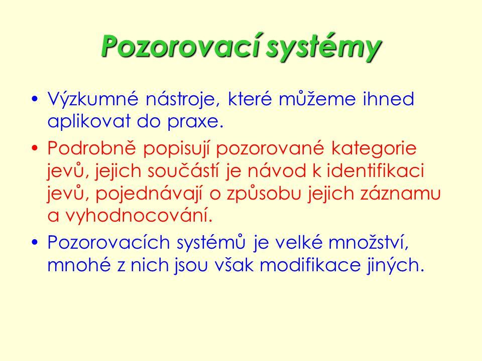 Pozorovací systémy Výzkumné nástroje, které můžeme ihned aplikovat do praxe.