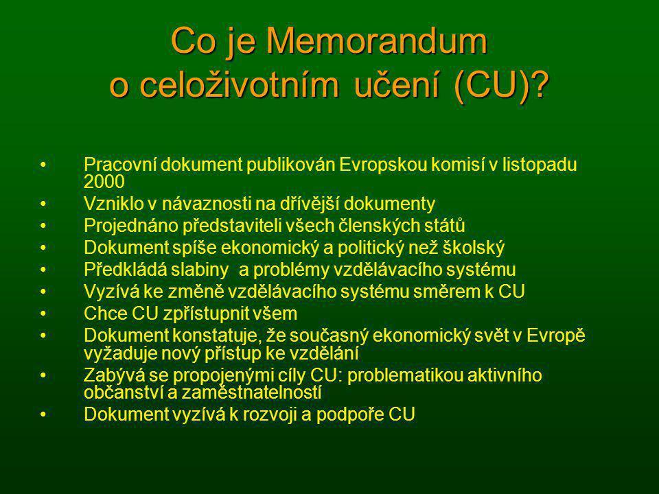 Co je Memorandum o celoživotním učení (CU)